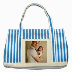 Father And Son Hug Striped Blue Tote Bag