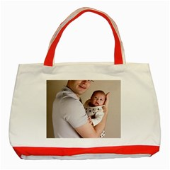 Father and Son Hug Classic Tote Bag (Red)