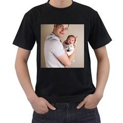 Father and Son Hug Black T-Shirt
