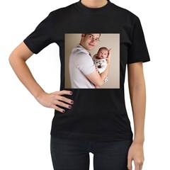 Father And Son Hug Women s Black T Shirt