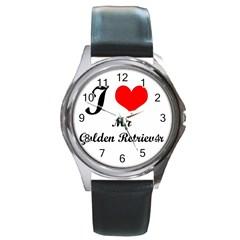 I Love My Golden Retriever Round Metal Watch
