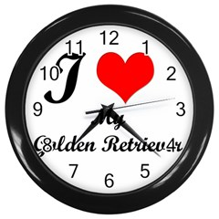 I Love My Golden Retriever Wall Clock (black)