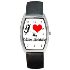 I Love My Golden Retriever Barrel Style Metal Watch