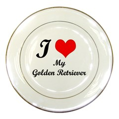 I Love My Golden Retriever Porcelain Plate