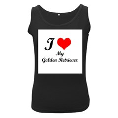 I Love My Golden Retriever Women s Black Tank Top