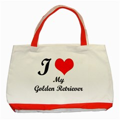 I Love My Golden Retriever Classic Tote Bag (red)