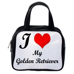 I Love My Golden Retriever Classic Handbag (One Side)