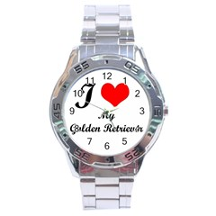 I Love My Golden Retriever Stainless Steel Analogue Men's Watch