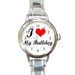 I Love My Bulldog Round Italian Charm Watch