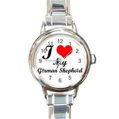 I Love My German Shepherd Round Italian Charm Watch