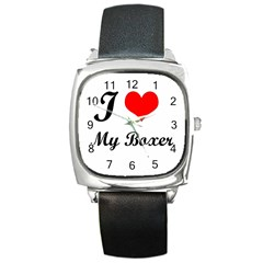 I Love My Boxer Square Metal Watch