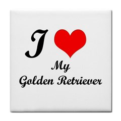 I Love Golden Retriever Tile Coaster