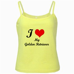 I Love Golden Retriever Yellow Spaghetti Tank
