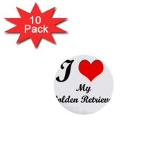I Love Golden Retriever 1  Mini Button (10 Pack)