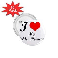 I Love Golden Retriever 1.75  Button (10 pack)