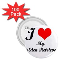 I Love Golden Retriever 1.75  Button (100 pack)