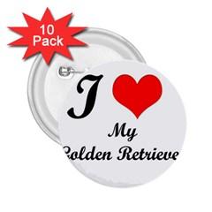 I Love Golden Retriever 2 25  Button (10 Pack)