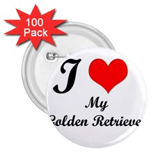 I Love Golden Retriever 2 25  Button (100 Pack)