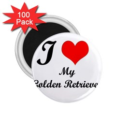 I Love Golden Retriever 2 25  Magnet (100 Pack)