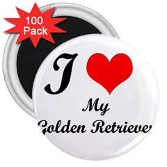 I Love Golden Retriever 3  Magnet (100 Pack)