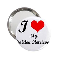 I Love Golden Retriever 2 25  Handbag Mirror