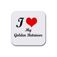 I Love Golden Retriever Rubber Square Coaster (4 pack)