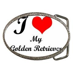 I Love Golden Retriever Belt Buckle