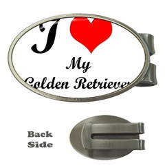 I Love Golden Retriever Money Clip (oval)