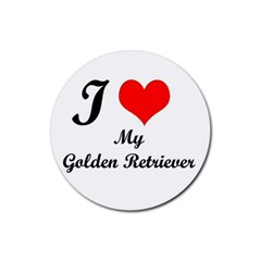 I Love Golden Retriever Rubber Coaster (round)
