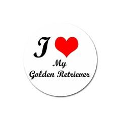 I Love Golden Retriever Magnet 3  (Round)