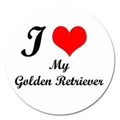 I Love Golden Retriever Magnet 5  (Round)