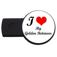 I Love Golden Retriever USB Flash Drive Round (1 GB)