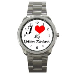 I Love Golden Retriever Sport Metal Watch