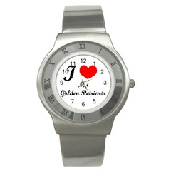 I Love Golden Retriever Stainless Steel Watch