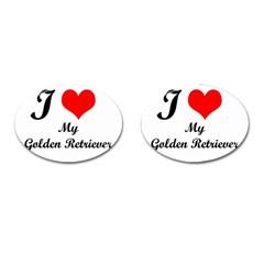 I Love Golden Retriever Cufflinks (oval)