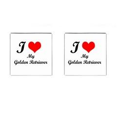 I Love Golden Retriever Cufflinks (Square)