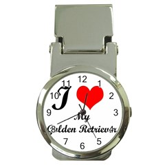 I Love Golden Retriever Money Clip Watch