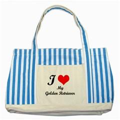 I Love Golden Retriever Striped Blue Tote Bag