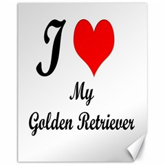 I Love Golden Retriever Canvas 11  X 14