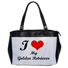 I Love Golden Retriever Oversize Office Handbag (One Side)