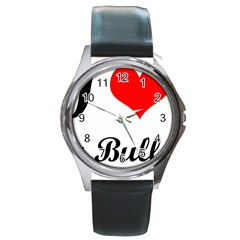 I-Love-My-Bulldog Round Metal Watch