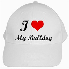I Love My Bulldog White Cap