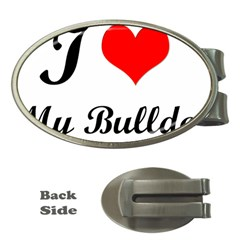 I Love My Bulldog Money Clip (oval)