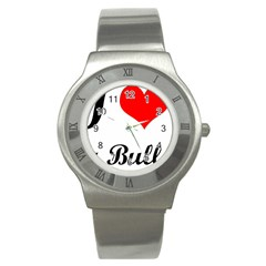 I Love My Bulldog Stainless Steel Watch