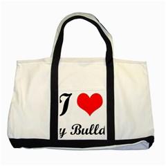 I-Love-My-Bulldog Two Tone Tote Bag