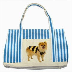 Dog Photo Striped Blue Tote Bag