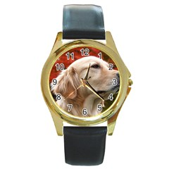 dog-photo cute Round Gold Metal Watch