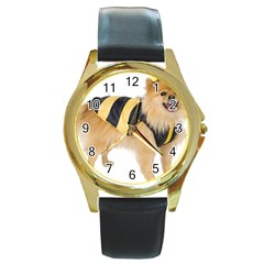 My-Dog-Photo Round Gold Metal Watch