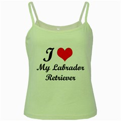 I Love My Labrador Retriever Green Spaghetti Tank