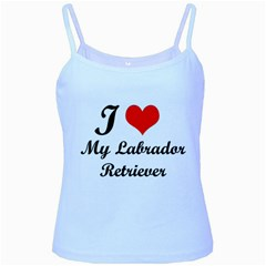 I Love My Labrador Retriever Baby Blue Spaghetti Tank